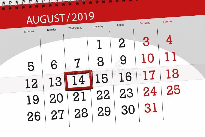 Плановик на месяц, день календаря крайнего срока недели 2019 14-ое августа, среда стоковое изображение