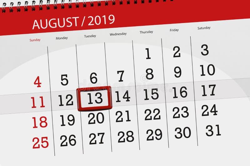 Плановик на месяц, день календаря крайнего срока недели 2019 13-ое августа, вторник стоковая фотография