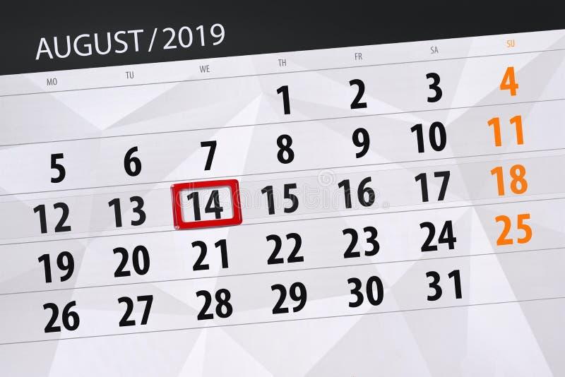 Плановик на месяц, день календаря крайнего срока недели 2019 14-ое августа, среда стоковые фотографии rf