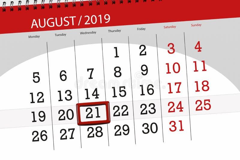 Плановик на месяц, день календаря крайнего срока недели 2019 21-ое августа, среда стоковые фото