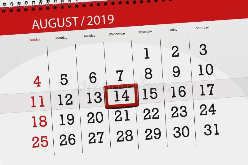 Плановик на месяц, день календаря крайнего срока недели 2019 14-ое августа, среда стоковая фотография