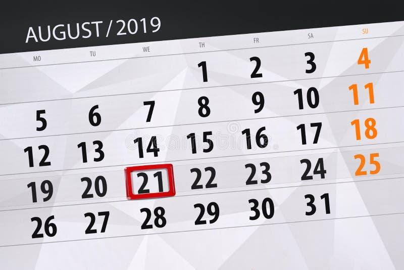 Плановик на месяц, день календаря крайнего срока недели 2019 21-ое августа, среда стоковое изображение