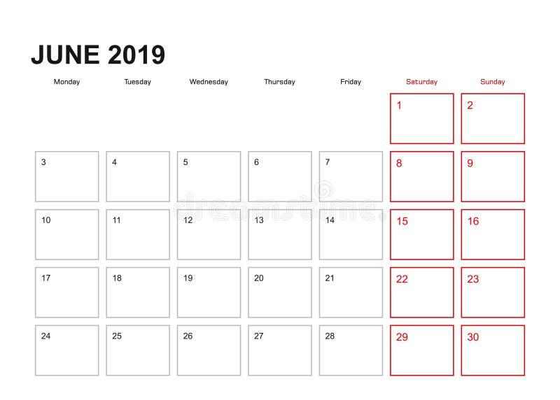 Плановик стены на июнь 2019 в английском языке, началах недели в понедельник иллюстрация штока
