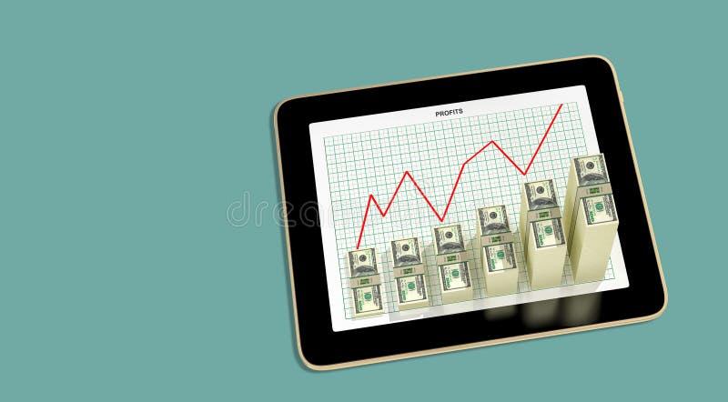 Планшет - долларовые диаграммы, показывающие рост прибыли иллюстрация штока