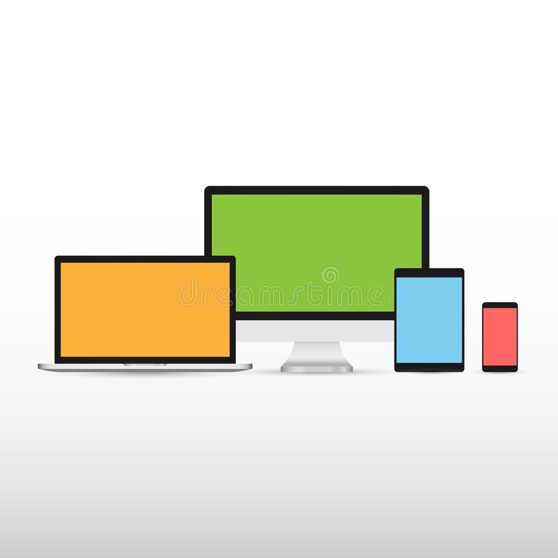 Планшет и смартфон монитора ноутбука модель-макета электронных устройств установленные с предпосылкой красочной концепции цифрово иллюстрация вектора