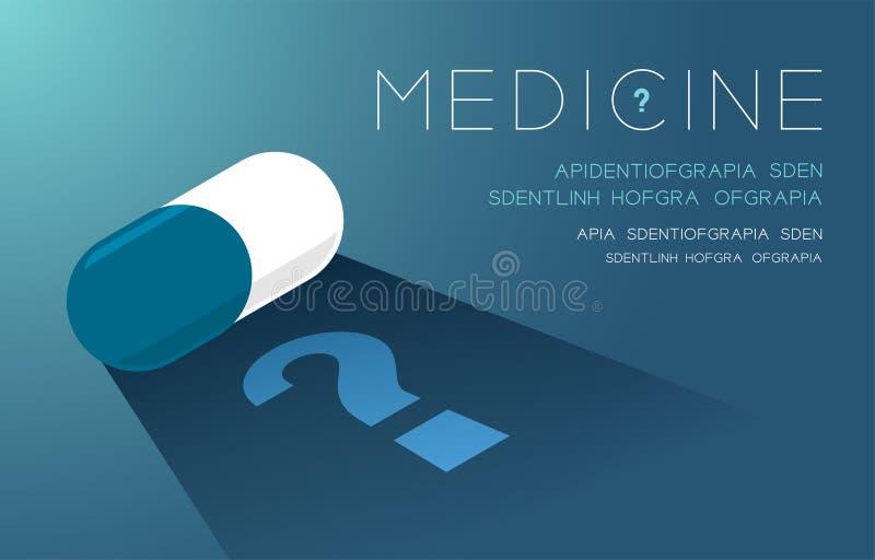 Планшет медицины со знаком тени и вопросительного знака, проблемой сомнения плакат идеи концепцией или иллюстрация дизайна плана  иллюстрация вектора
