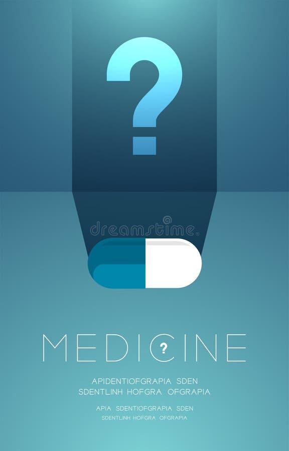 Планшет медицины со знаком тени и вопросительного знака, проблемой сомнения плакат идеи концепцией или иллюстрация дизайна плана  иллюстрация штока