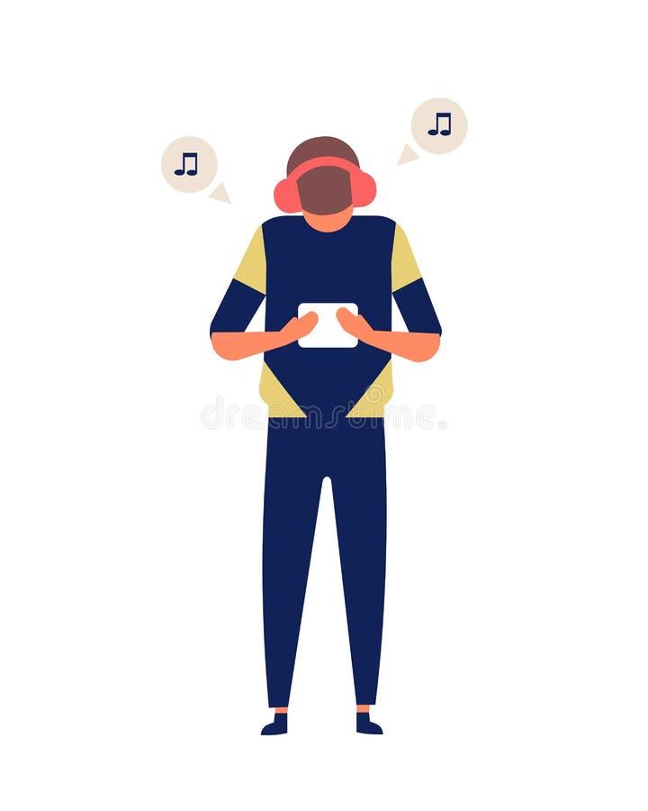 Планшет удерживания молодого человека и слушать к следу музыки Милый смешной парень с современным электронным устройством и иллюстрация вектора