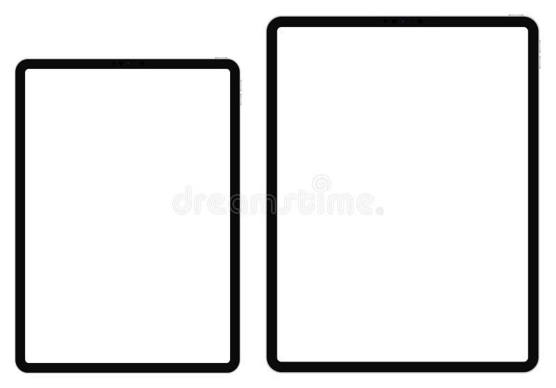 Планшет IPad дела стиль Pro 11 и 12,9 на белой предпосылке иллюстрация штока