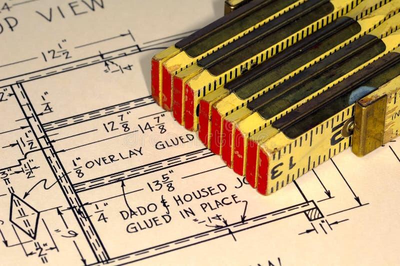 планы плотничества стоковое изображение rf