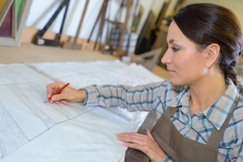Планы чертежа ландшафтного архитектора стоковая фотография rf