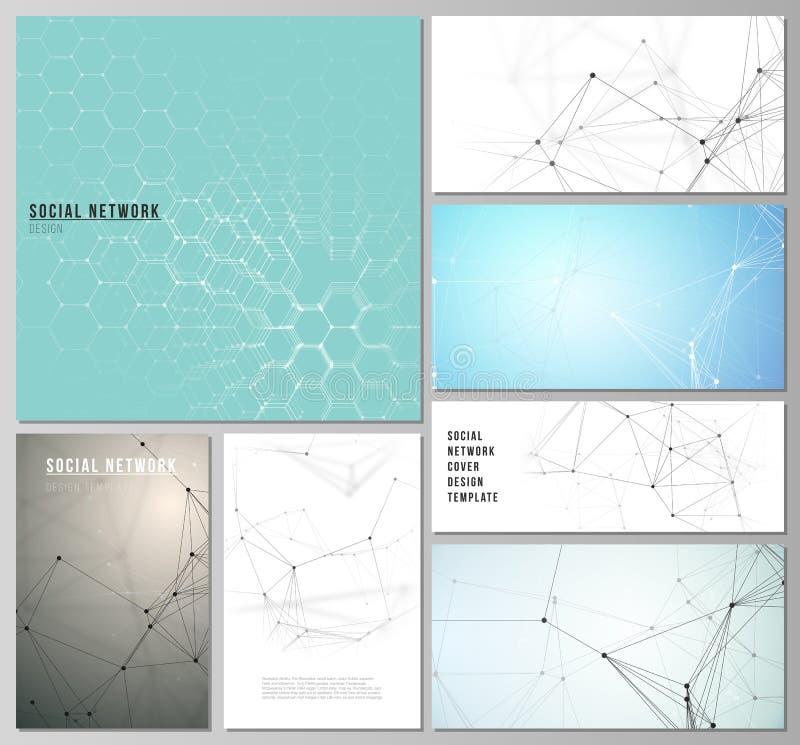 Планы minimalistic вектора editable современных социальных модель-макетов сети в популярных форматах Технология, наука иллюстрация вектора
