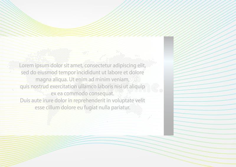 План вектора в размере A4 абстрактная волна картины Карта мира с текстом Элементы иллюстрации для дела иллюстрация вектора