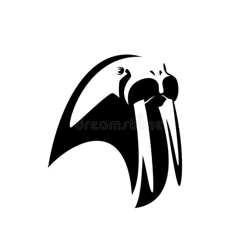 План вектора черноты головы моржа иллюстрация вектора