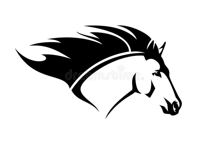 План вектора черноты головы профиля лошади мустанга иллюстрация штока