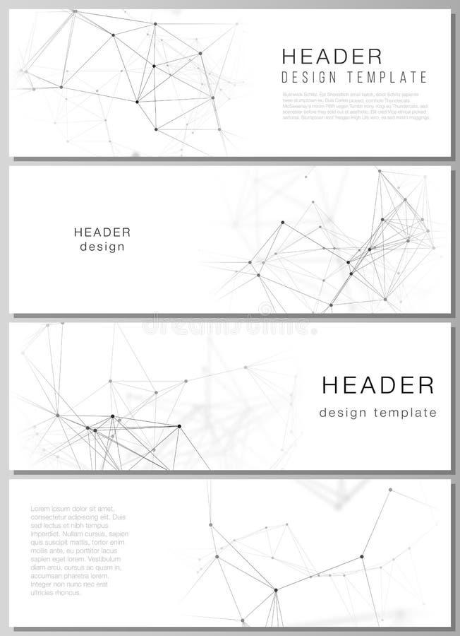 План вектора Minimalistic editable заголовков, шаблонов дизайна знамени в популярных форматах Технология, наука, медицинская бесплатная иллюстрация