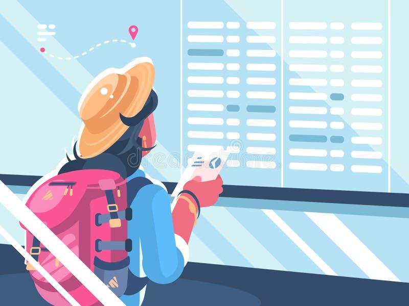 План-график вахты путешественника девушки полетов бесплатная иллюстрация