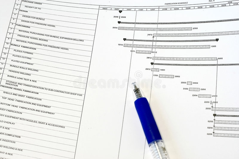план-график проекта изготавливания стоковое фото