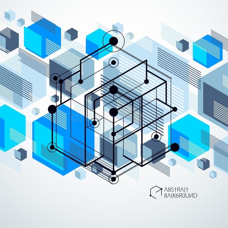 План дизайна шаблона 3D голубой для брошюры, рогульки, плаката, объявления иллюстрация вектора