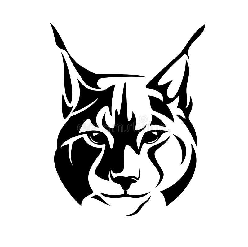 План дикого вектора черноты кота рыся главный бесплатная иллюстрация