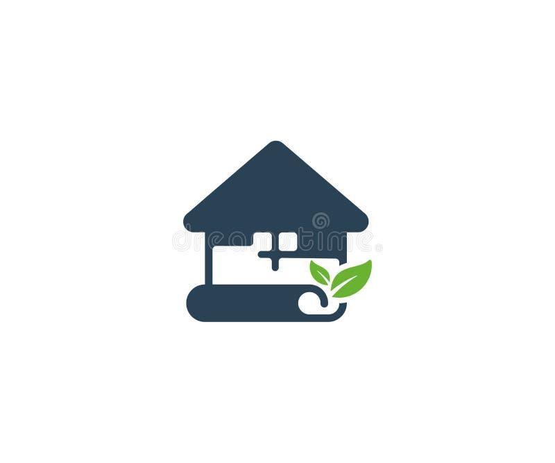 План дома и шаблон логотипа листьев Бумажный дизайн плана дома бесплатная иллюстрация