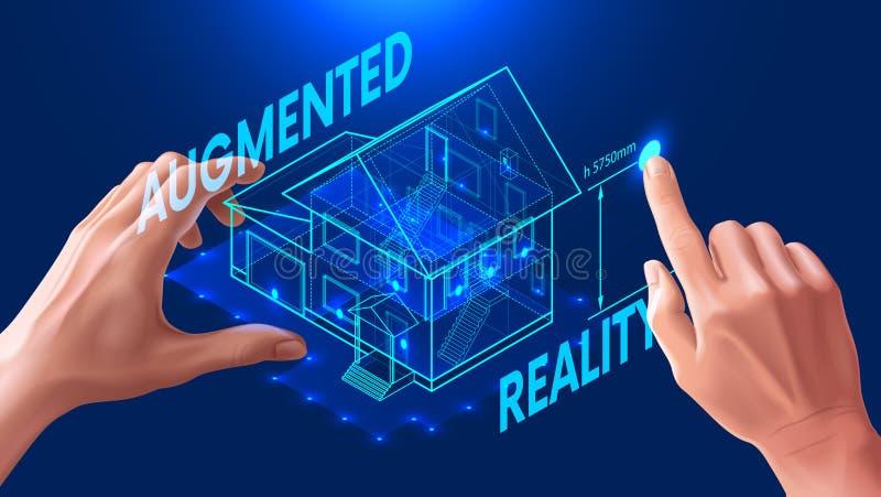план дома 3d виртуальный интерфейс для увеличенной реальности в архитектурном дизайне иллюстрация штока