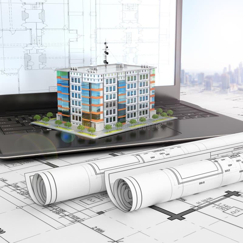 План жилого дома на открытом ноутбуке с проектами чертежа иллюстрация вектора