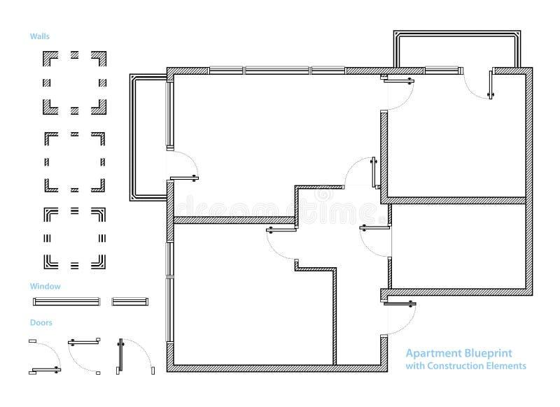 План здания Светокопия квартиры с элементами конструкции Расквартируйте проект вектор иллюстрация вектора