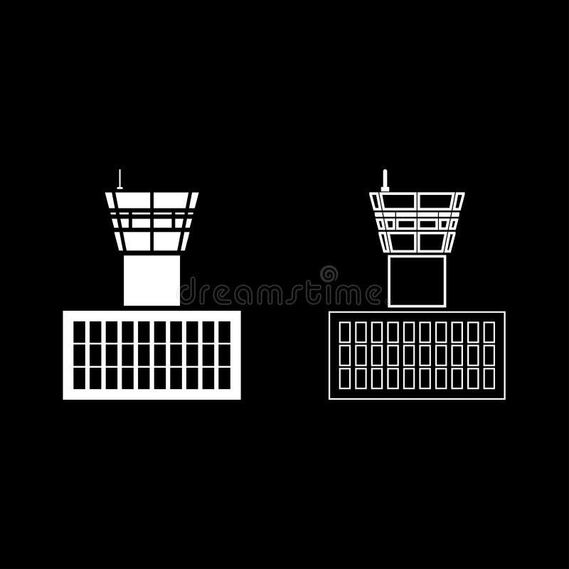 План значка башни управления полетом здания аэропорта диспетчерской вышки аэропорта установил изображение стиля белой иллюстрации бесплатная иллюстрация