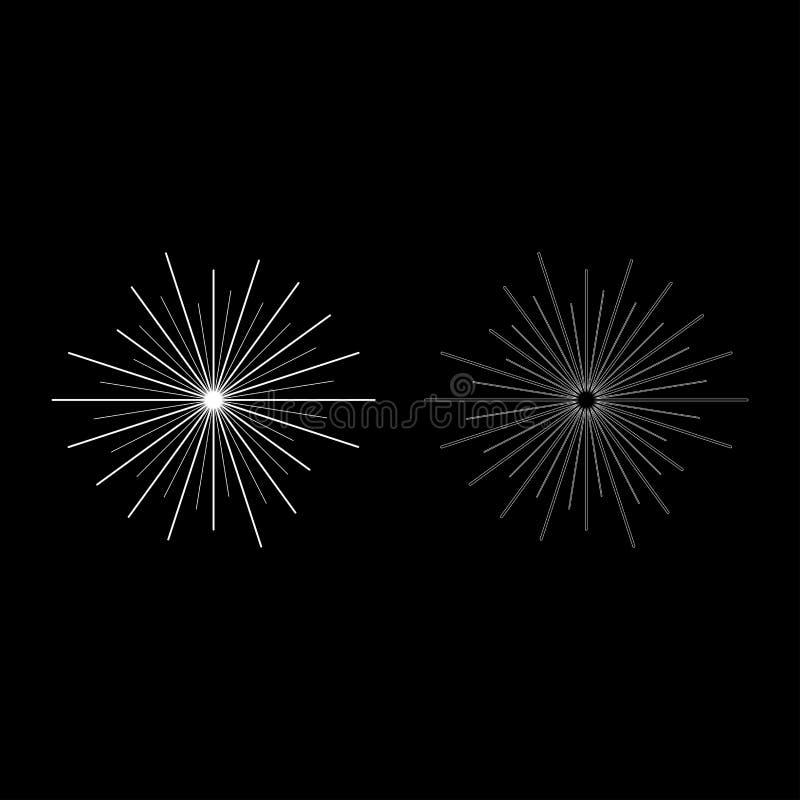 План значка концепции солнечного луча лучей Солнца установил изображение стиля белой иллюстрации вектора цвета плоское иллюстрация вектора