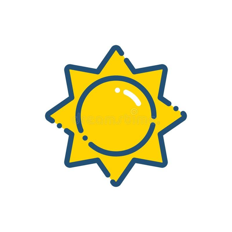План значка солнечного дня погоды иллюстрация штока