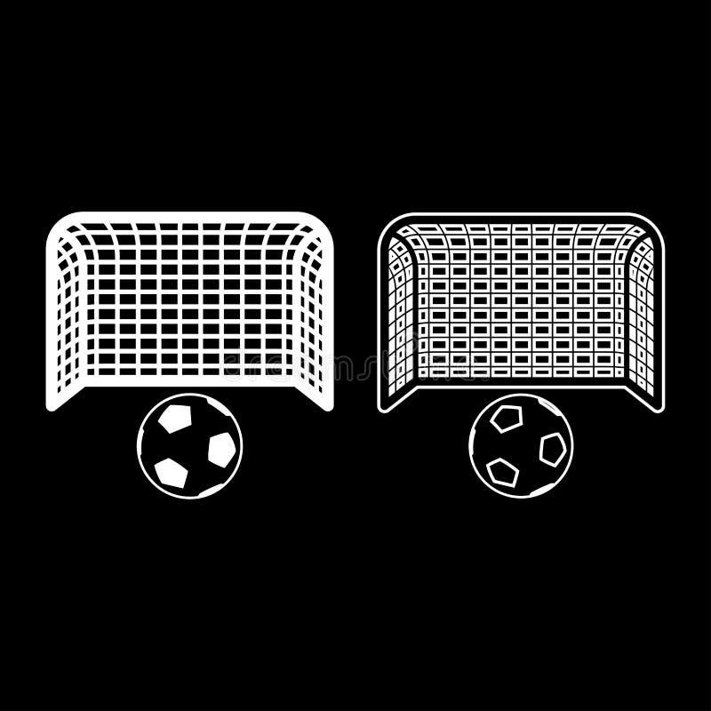 План значка стойки ворот футбола устремленности цели концепции штрафа футбольного мяча и ворот большой установил белую иллюстраци иллюстрация штока