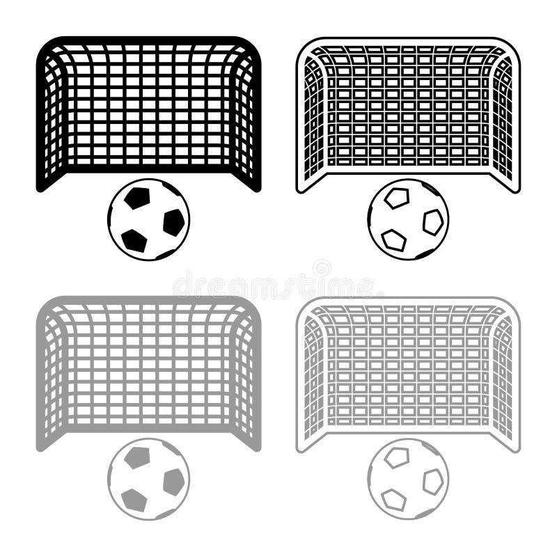 План значка стойки ворот футбола устремленности цели концепции штрафа футбольного мяча и ворот большой установил черную серую илл иллюстрация вектора