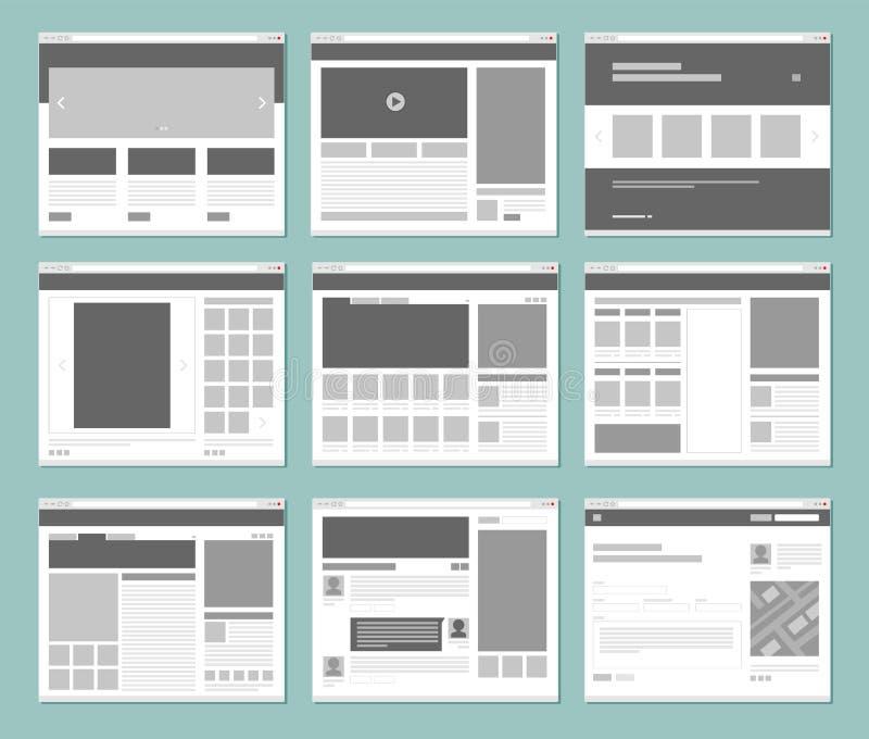 План интернет-страниц Окна интернет-браузера с элементами вебсайта взаимодействуют дизайн вектора шаблона ui иллюстрация штока