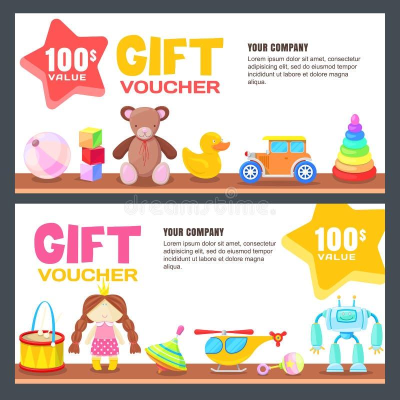 План карточки подарка, ваучера, сертификата или дизайна вектора талона Шаблон знамени скидки для магазина игрушек детей иллюстрация вектора