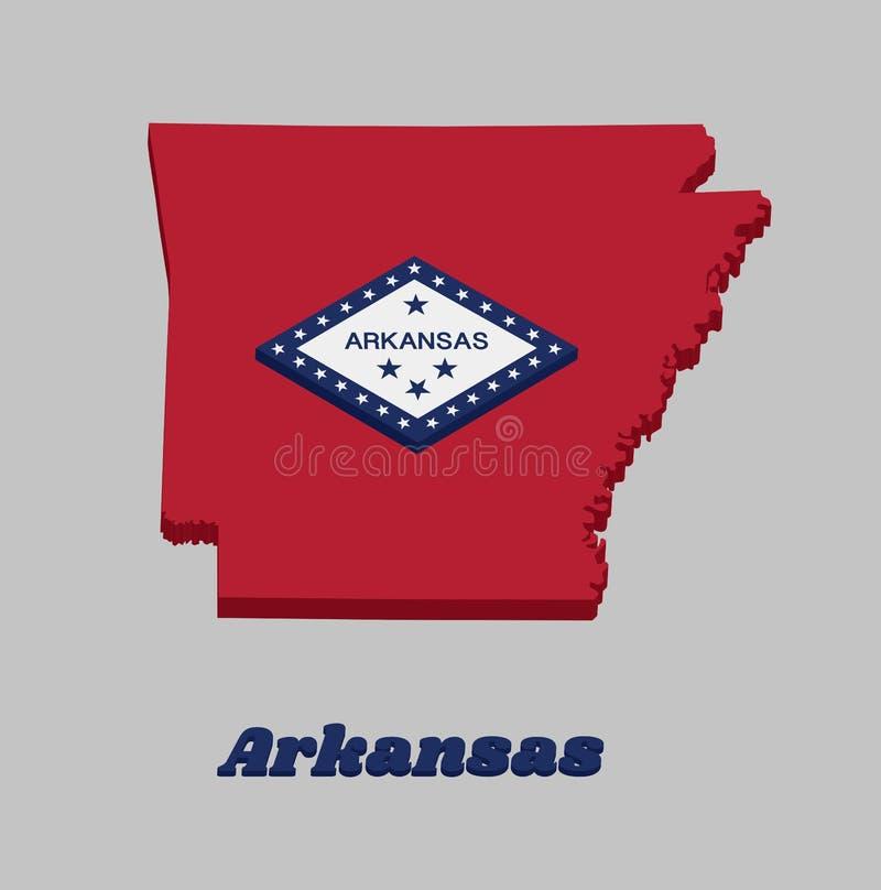 """план карты 3d и флаг Арканзаса, прямоугольное поле красного цвета, большой белый диамант, который граничит синью и словом """"Арканз иллюстрация штока"""