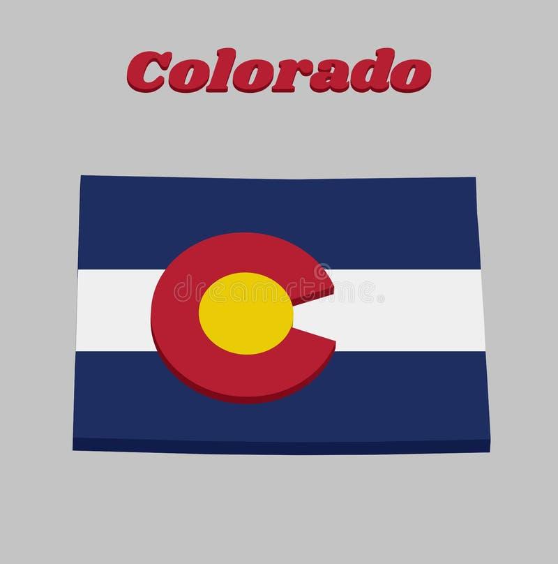 план карты 3D и флаг Колорадо, 3 горизонтальных нашивок голубого, белого, и голубого Na górze этих нашивок сидит циркуляр иллюстрация вектора