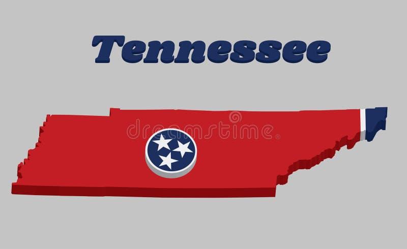 план карты 3D и флаг Теннесси, голубой круг с 3 белыми звездами на прямоугольном поле красного цвета, с прокладкой белизны бесплатная иллюстрация