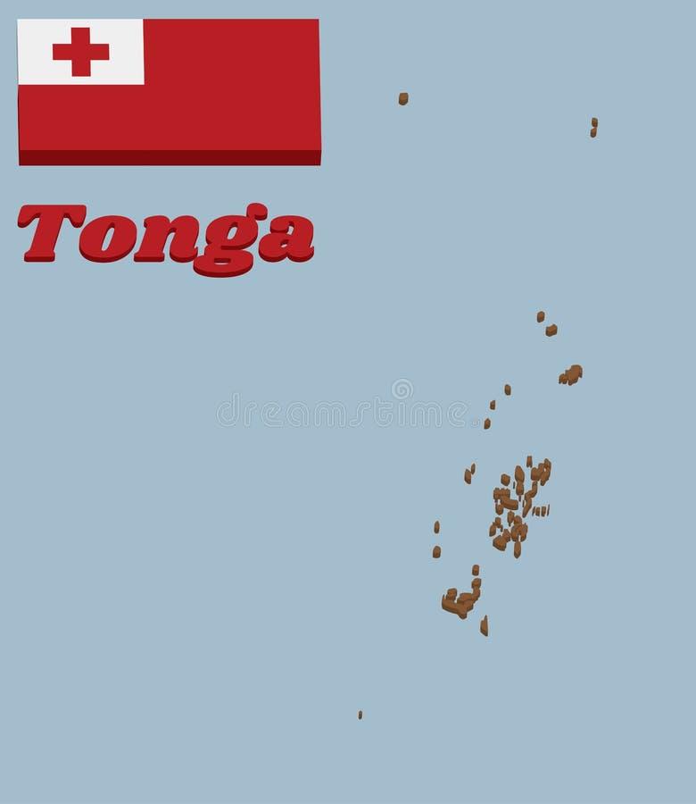 план карты 3D и флаг Тонги, красное поле с белым прямоугольником на верхнем угле подъем-стороны нося красный греческий крест иллюстрация вектора