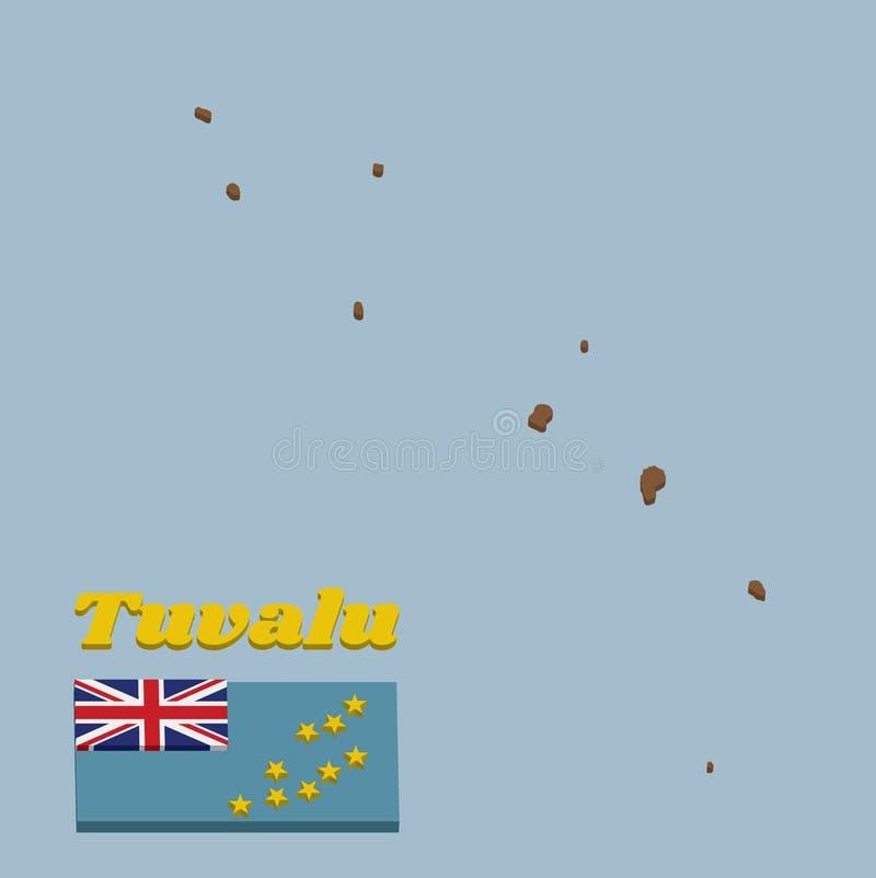 план карты 3D и флаг Тувалу, светлого - голубой Ensign с картой острова 9 желтых звезд на наружной половине  бесплатная иллюстрация