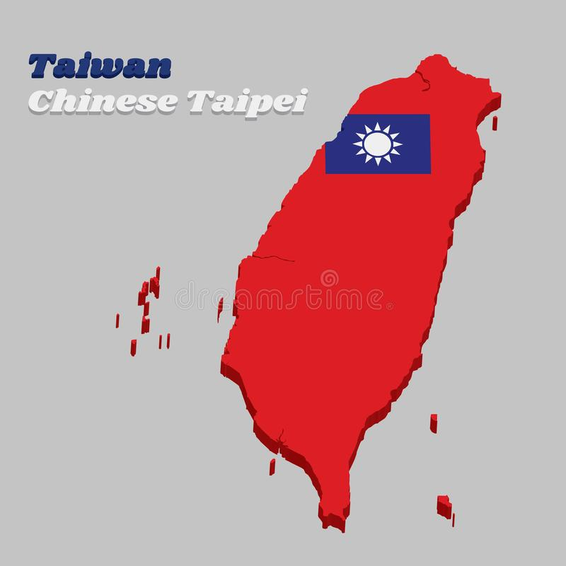 план карты 3D китайца красное поле флага Тайбэя, Тайваня с голубым кантоном содержа солнце 12 лучей белое бесплатная иллюстрация