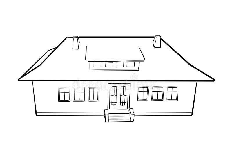 План красивого дома в деревне - вектор иллюстрация вектора