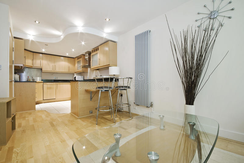 план кухни отделки славный открытый деревянный стоковое фото rf