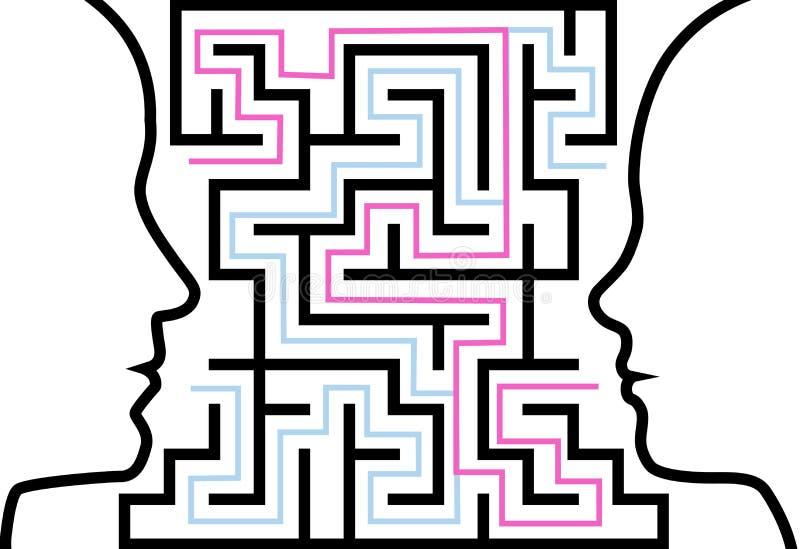 план лабиринта человека стороны профилирует женщину головоломки иллюстрация вектора