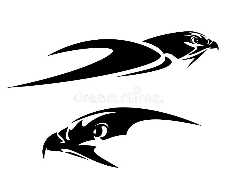 План летая вектора черноты головы птицы ястреба бесплатная иллюстрация