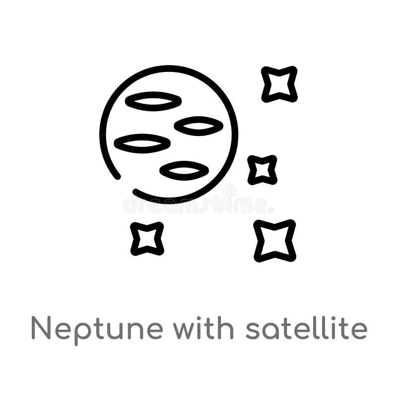 план Нептун со спутниковым значком вектора изолированная черная простая линия иллюстрация элемента от концепции астрономии editab бесплатная иллюстрация