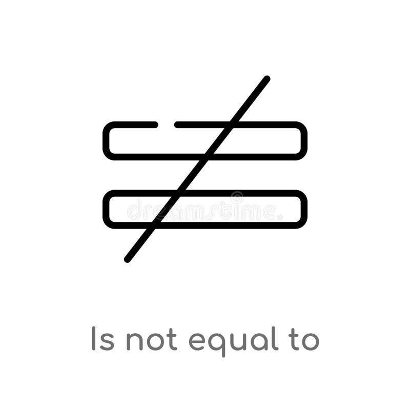 план не равен к значку вектора изолированная черная простая линия иллюстрация элемента от концепции знаков editable ход вектора иллюстрация вектора