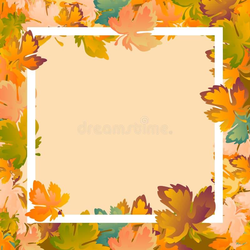 План предпосылки осени украшает плакат продажи или promo листьев ходя по магазинам и белую листовку рамки, знамя сети вектор иллюстрация штока