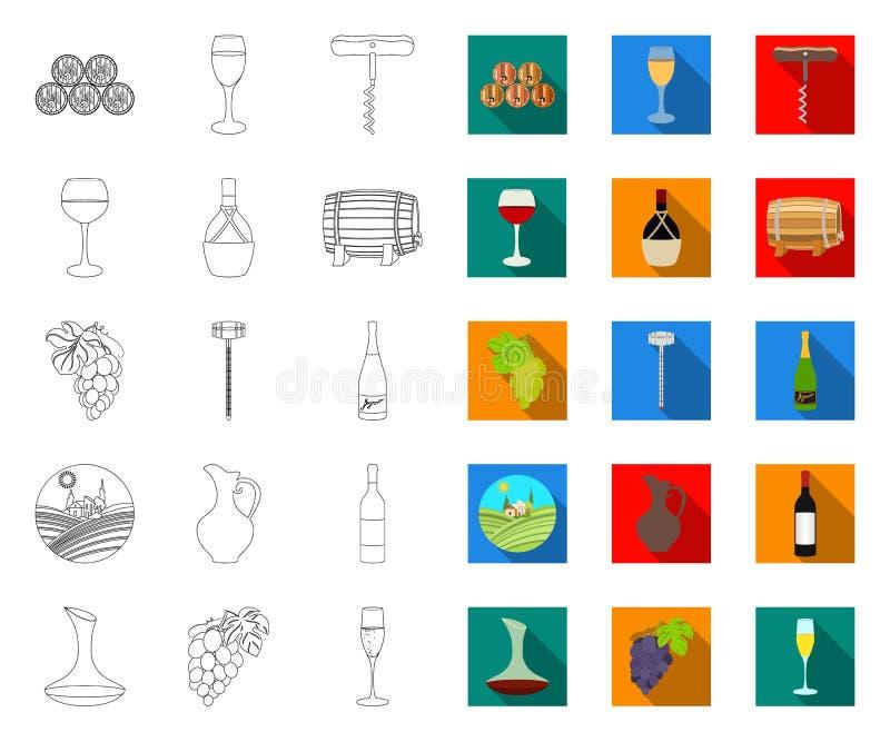 План продуктов вина, плоские значки в установленном собрании для дизайна Оборудование и продукция сети запаса символа вектора вин бесплатная иллюстрация