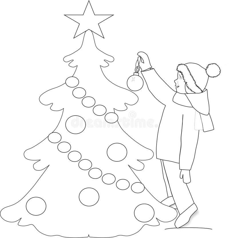 План, расцветка, ребенок висит шарик рождества на рождественской елке на улице, векторе бесплатная иллюстрация